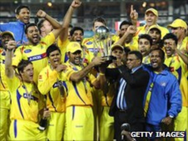 Chennai Super Kings celebrate winning the 2010 IPL title