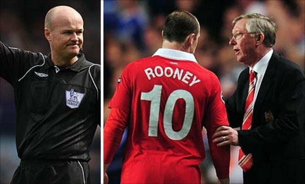 Lee Mason, Wayne Rooney and Sir Alex Ferguson