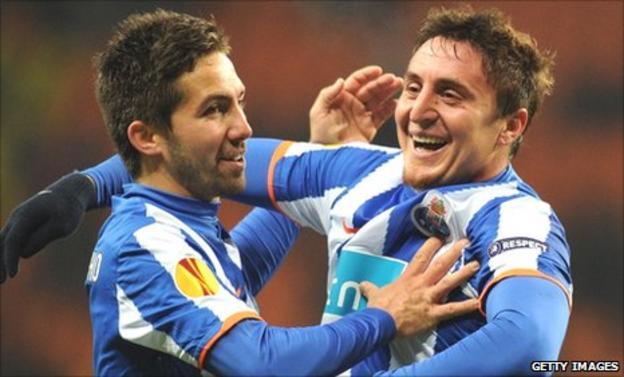 Joao Moutinho (left) and Cristian Rodriguez