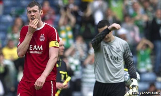 Aberdeen captain Zander Diamond and goalkeeper Jamie Langfield