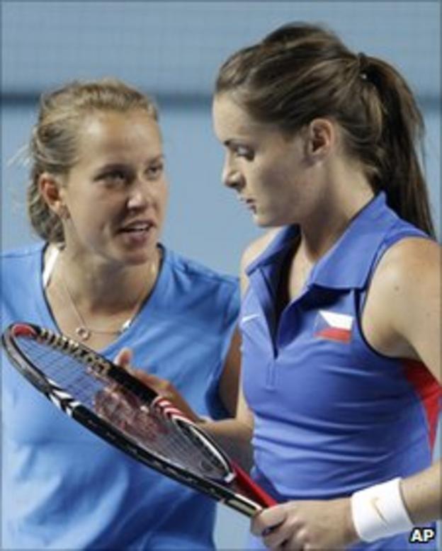 Barbora Zahlavova Strycova (left) with doubles partner Iveta Benesova