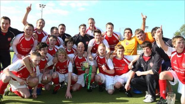 Cookstown celebrate their Irish Cup triumph in Dublin