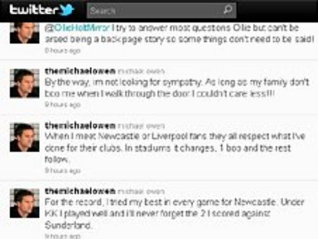 Michael Owen Twitter feed