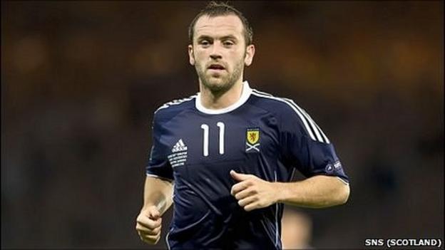 James McFadden in action for Scotland