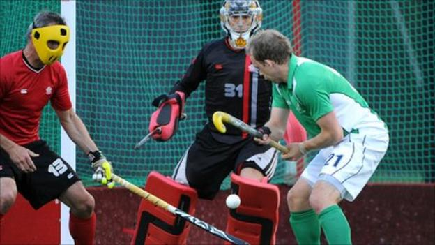 Ireland's Timmy Cockram shoots on the Canada goal in Wednesday's draw