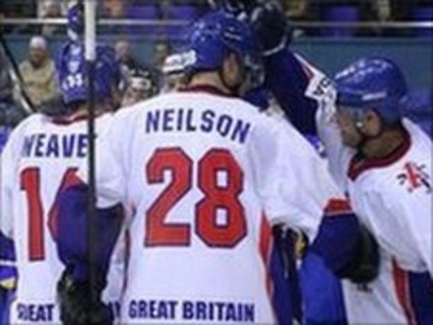 Great Britain Ice Hockey team celebrate