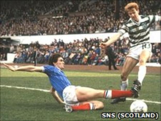 Craig Paterson slides in on Celtic's Tommy Burns in the 1984 Skol Cup final