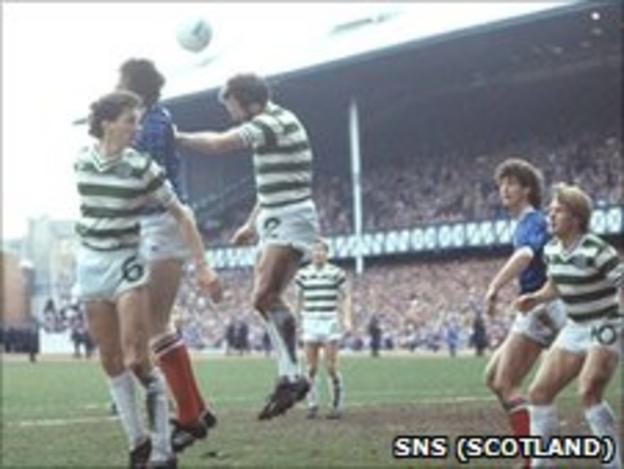 Willie McStay (l) competes with Rangers' John McLelland at Ibrox in 1984