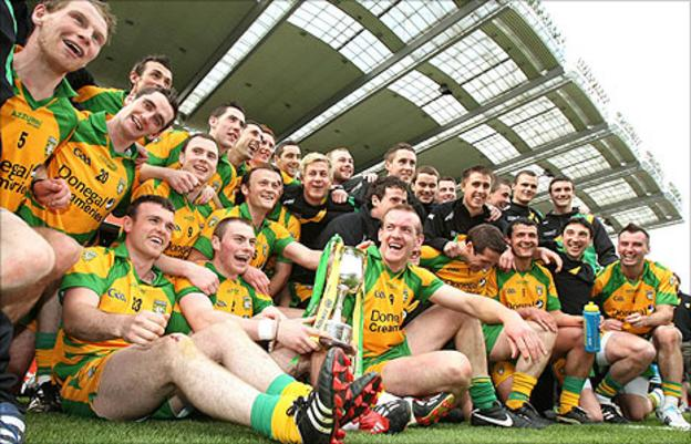 Donegal players celebrate after their narrow win over Laois