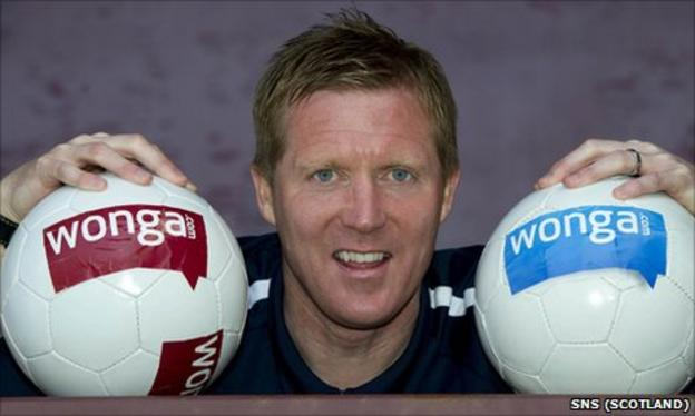 Hearts coach Gary Locke promotes the new sponsorship deal