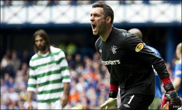 Allan McGregor celebrates his penalty save against Celtic