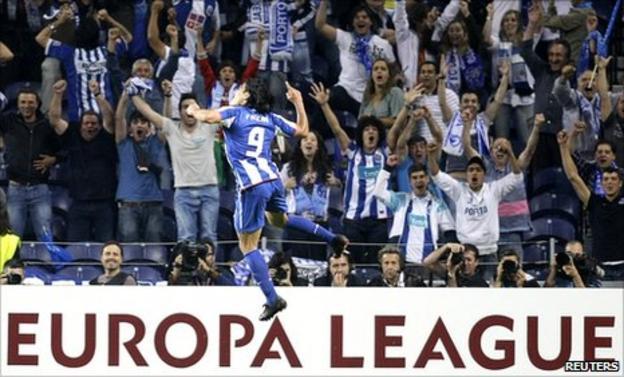 Falcao celebrates in front of the Porto fans