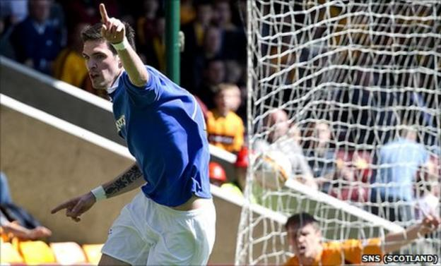 Kyle Lafferty celebrates after scoring for Rangers against Motherwell