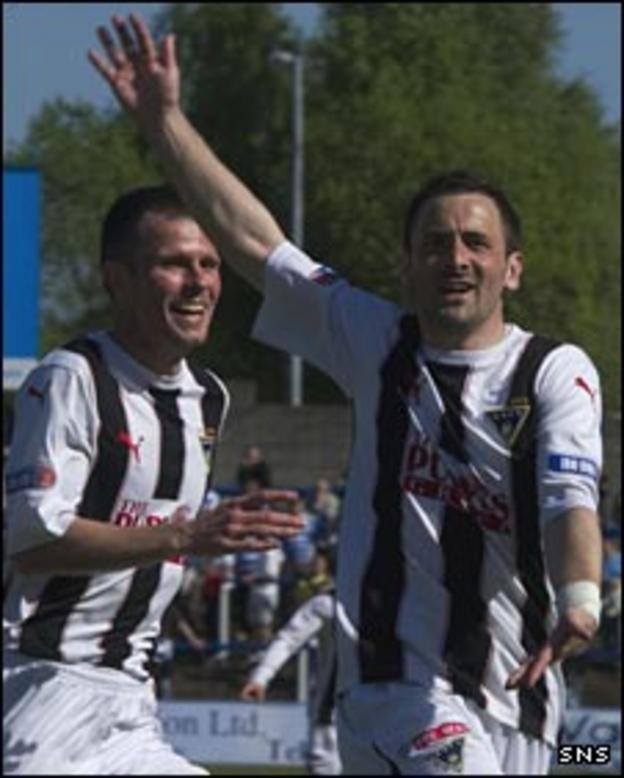 David Graham (right) celebrates his goal against Morton