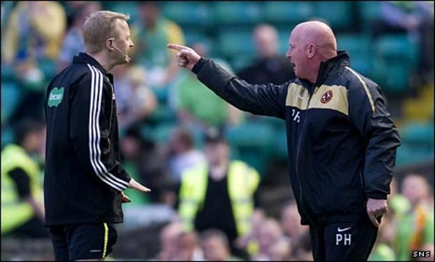 Peter Houston remonstrates with fourth official Gary Hilland