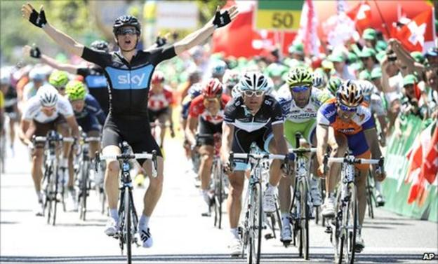 Ben Swift celebrates winning the final stage at the the Tour of Romandy