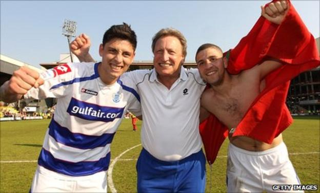 Alejandro Faurlin (left) celebrates his team's promotion to the Premier League with Neil Warnock and Adel Taarabt