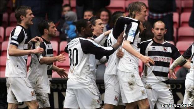 Darlington players celebrate