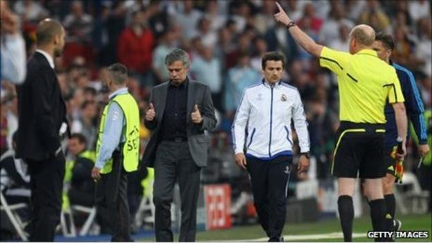 Real coach Jose Mourinho is sent to the stands