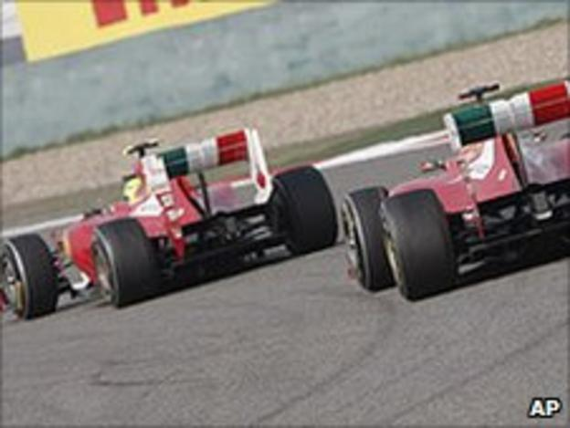 The Ferraris of Felipe Massa and Fernando Alonso during the Chinese Grand Prix