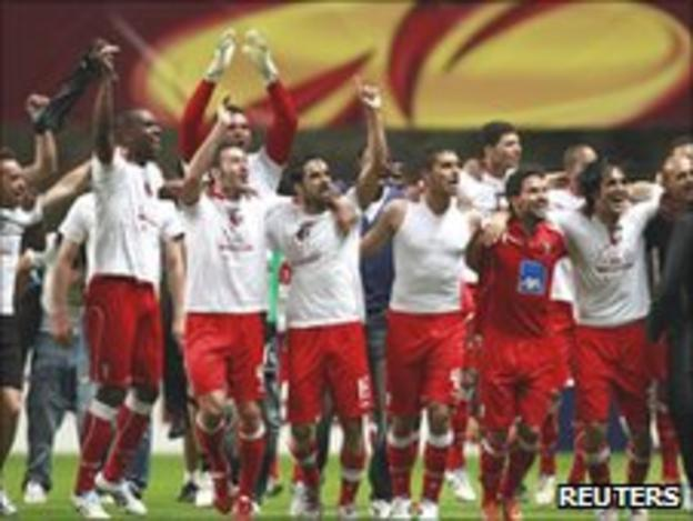 Braga players celebrating