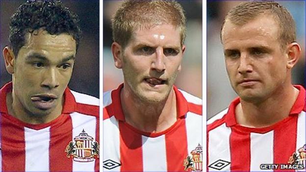 Sunderland trio Kieran Richardson (left), Michael Turner (centre) and Lee Cattermole