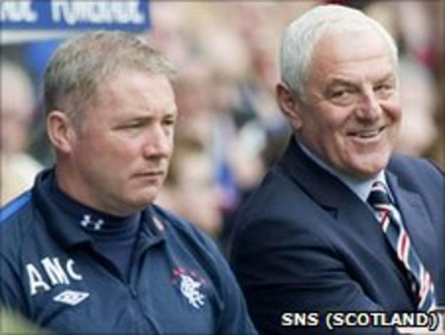 Rangers assistant Ally McCoist and manager Walter Smith