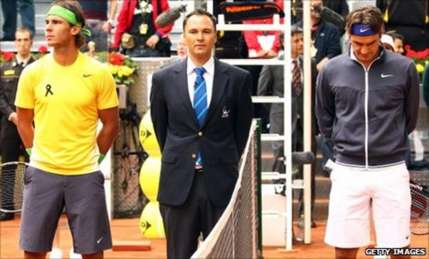 Rafael Nadal and Roger Federer in a minute's silence to tribute Spanish golfing legend Seve Ballesteros