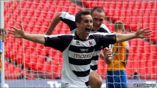 Chris Senior of Darlington celebrates his winning goal