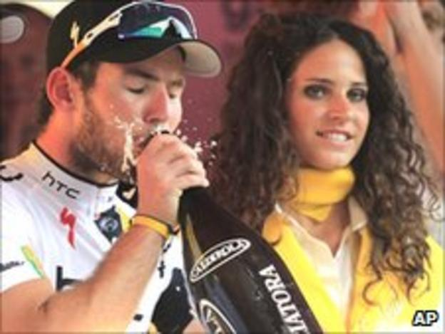 Cavendish sips champagne