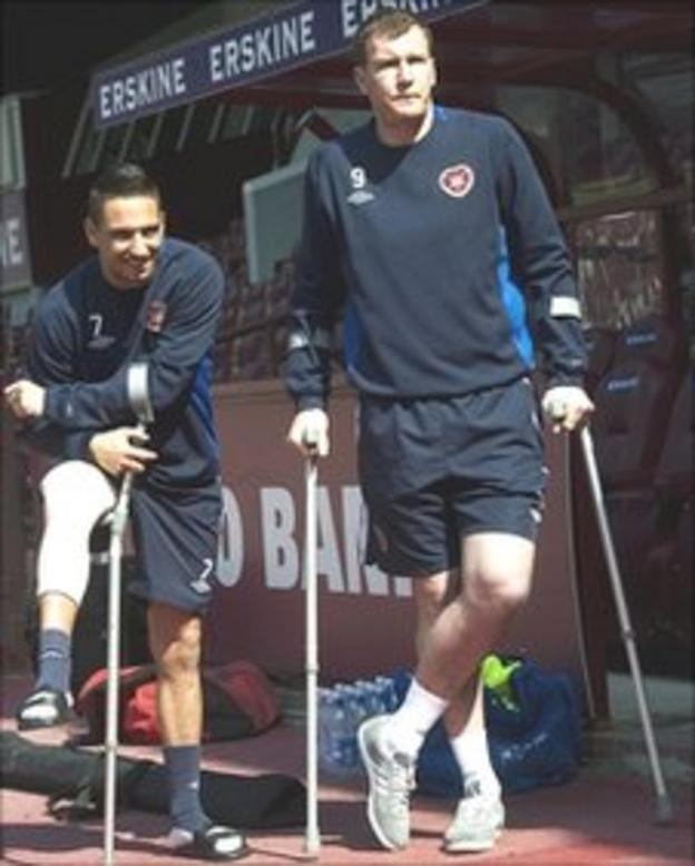 Hearts striker Kevin Kyle in crutches at Tynecastle