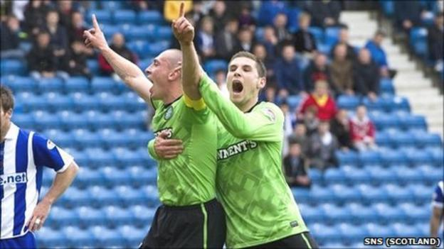 Celtic's Scott Brown celebrates his opening goal with Gary Hooper