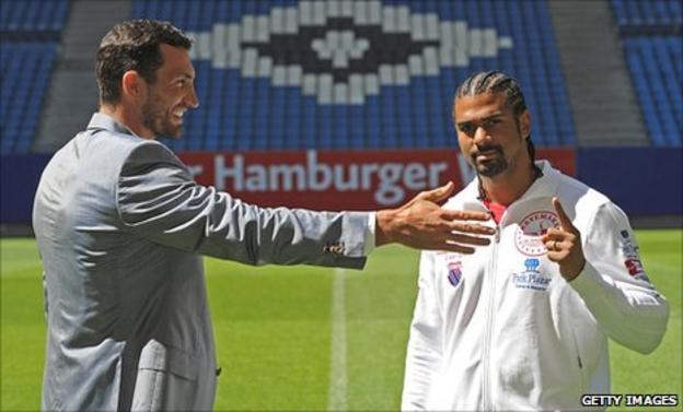 Wladimir Klitschko (left) and David Haye