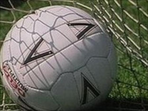 Football in a net