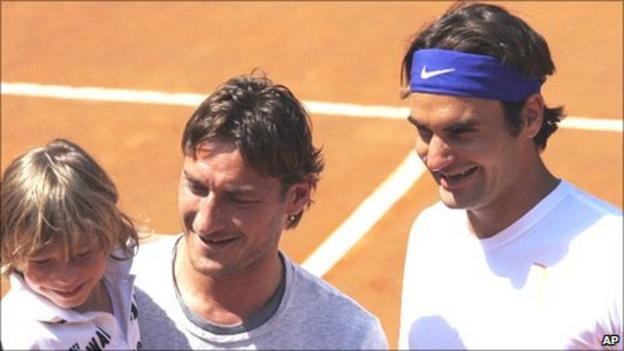 Francesco Totti and Roger Federer