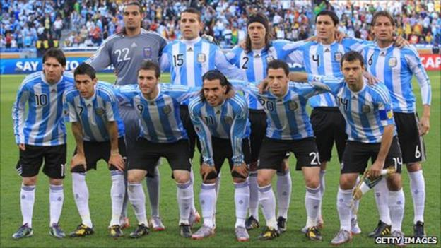 Argentina line up against Germany at the 2010 World Cup