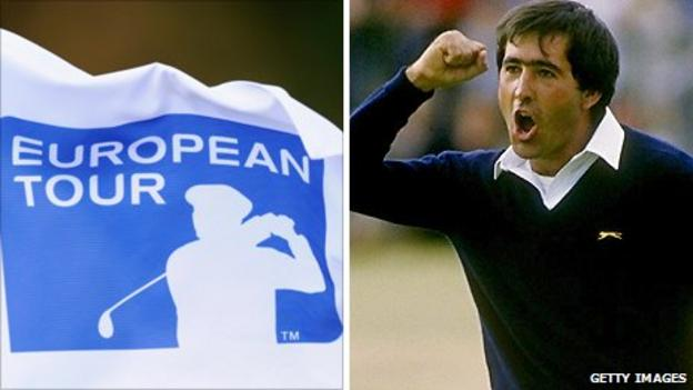 European Tour logo (left) and Seve Ballesteros