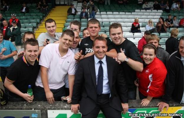 Brendan Rodgers with Swansea fans