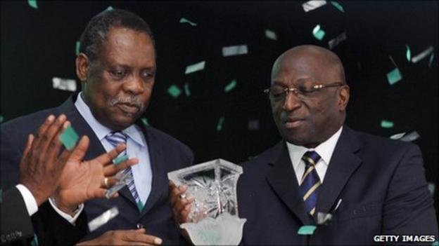 Caf president Issa Hayatou (left) and Jacques Anouma