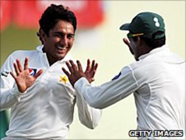 Ajmal Saeed celebrates taking a wicket