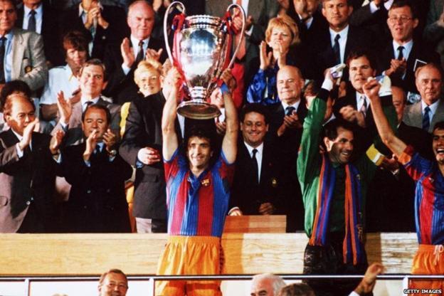 Jose Ramon Alexanko lifts the trophy