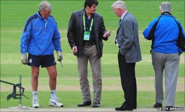 The Edgbaston pitch is inspected