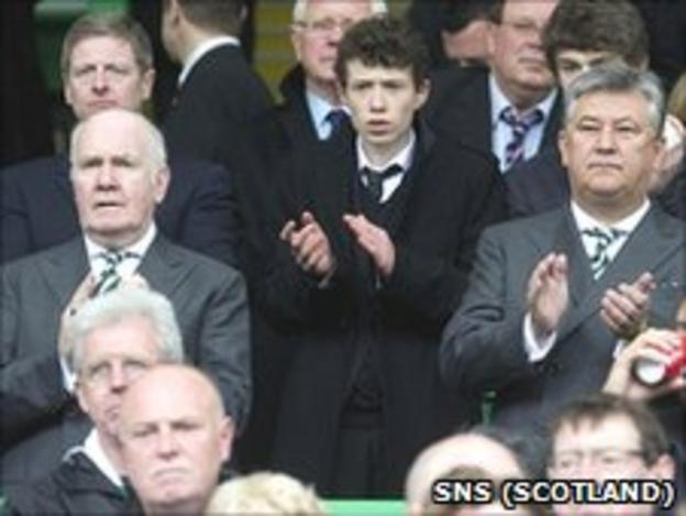 Celtic chairman John Reid (middle, left) and chief executive Peter Lawwell (right)
