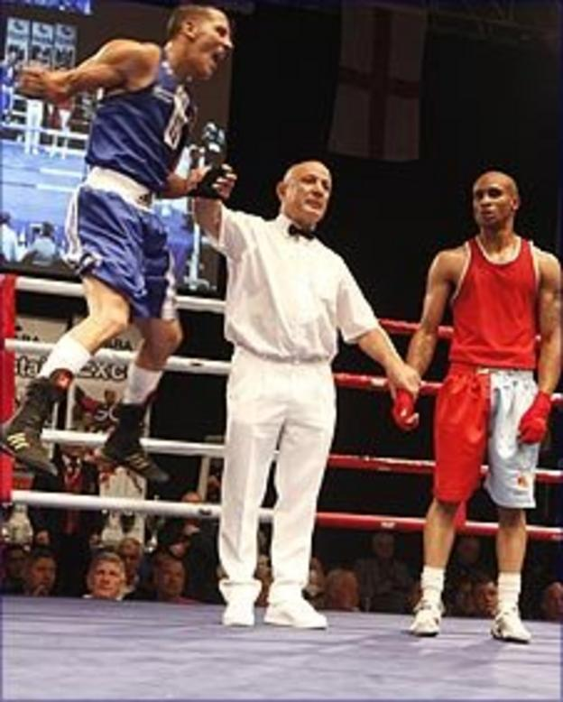 Danny Phillips (left) celebrates winning his ABA title