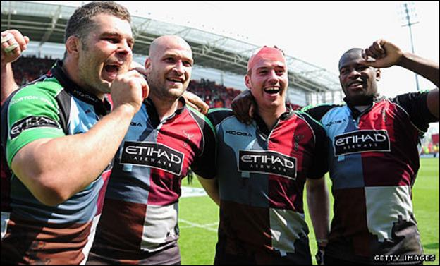 Harlequins players (from left) Nick Easter, George Robson, Joe Gray and Ugo Monye celebrate their epic semi-final win over Munster