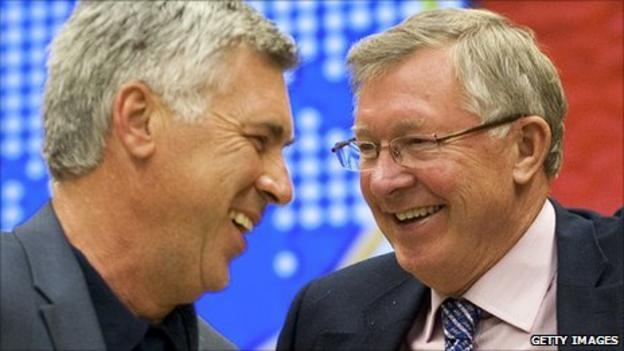 Carlo Ancelotti and Sir Alex Ferguson