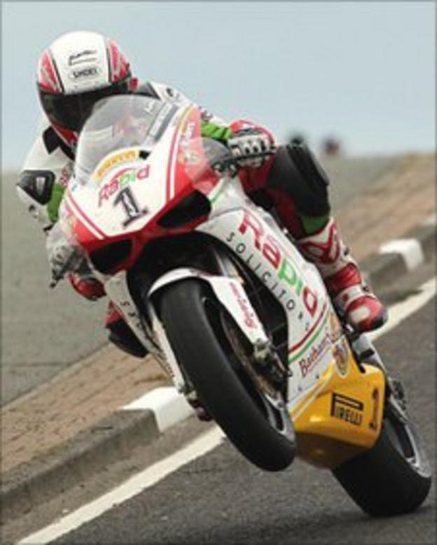 Michael Rutter rides over Black's Hill during Tuesday's practice