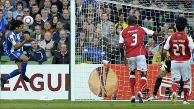Falcao (left) heads his side's winner at the end of the first half