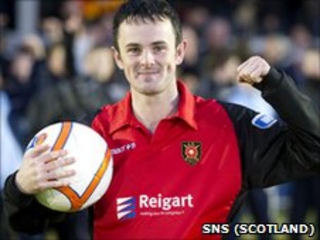 Robert Love celebrates his hat-trick at Cliftonhill