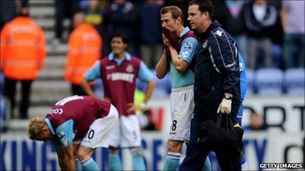 West Ham players dejected after relegation